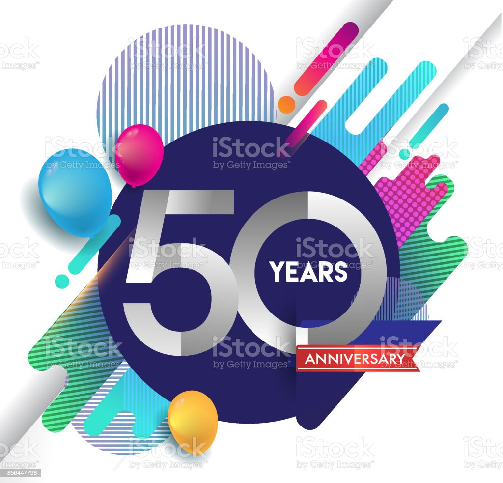50th years Anniversary icon with colorful abstract background, vector design template elements for invitation card and poster your birthday celebration. vector art illustration