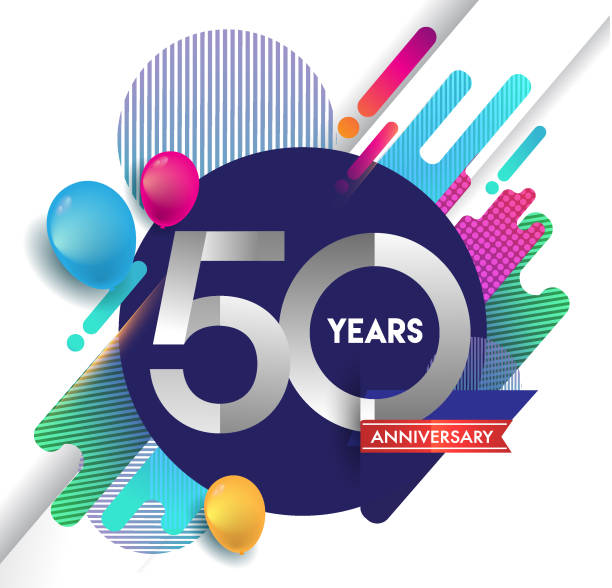50th years anniversary icon with colorful abstract background, vector design template elements for invitation card and poster your birthday celebration. - anniversary designs stock illustrations