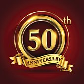50th years anniversary logo with gold ring and golden ribbon, vector design