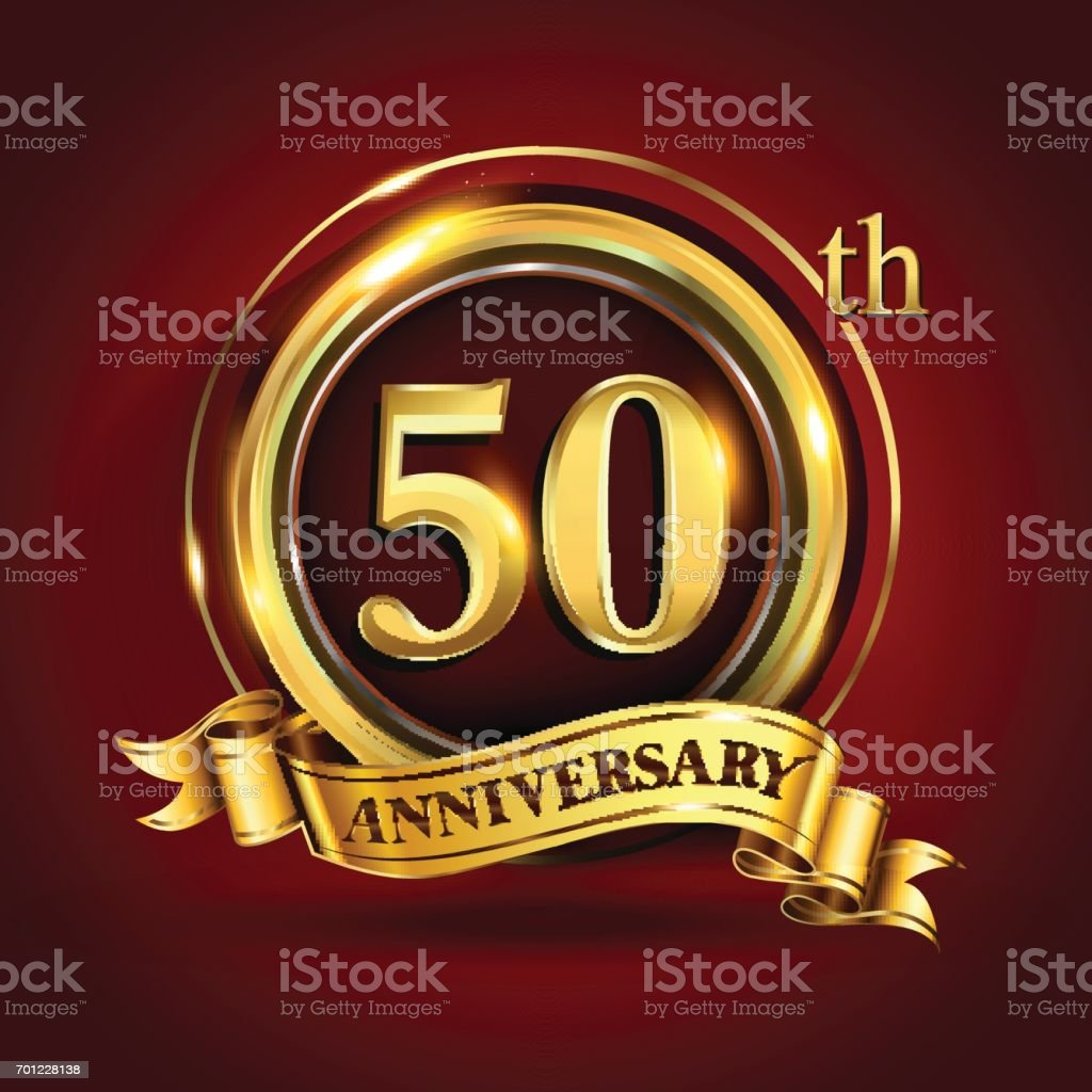 50th years anniversary logo with gold ring and golden ribbon, vector design vector art illustration