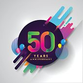 50th years Anniversary symbol with colorful abstract background