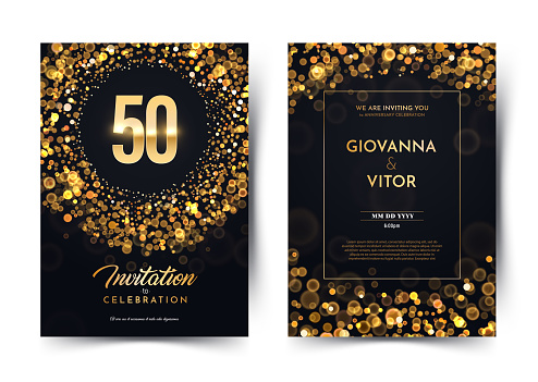 50th years birthday vector black paper luxury invitation double card. Fifty years wedding anniversary celebration brochure. Template of invitational for print dark background with bokeh lights