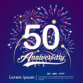 50years anniversary celebration emblem. white anniversary logo isolated with colorful fireworks background. vector illustration template design for web, flyers, poster, greeting & invitation card