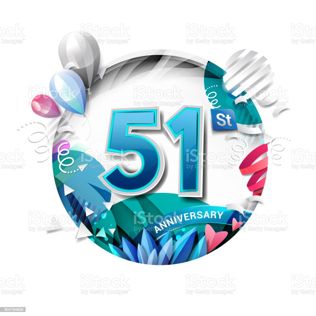 51st anniversary background with balloon and confetti on white. 3D paper style illustration. Poster or brochure template. Vector illustration. vector art illustration