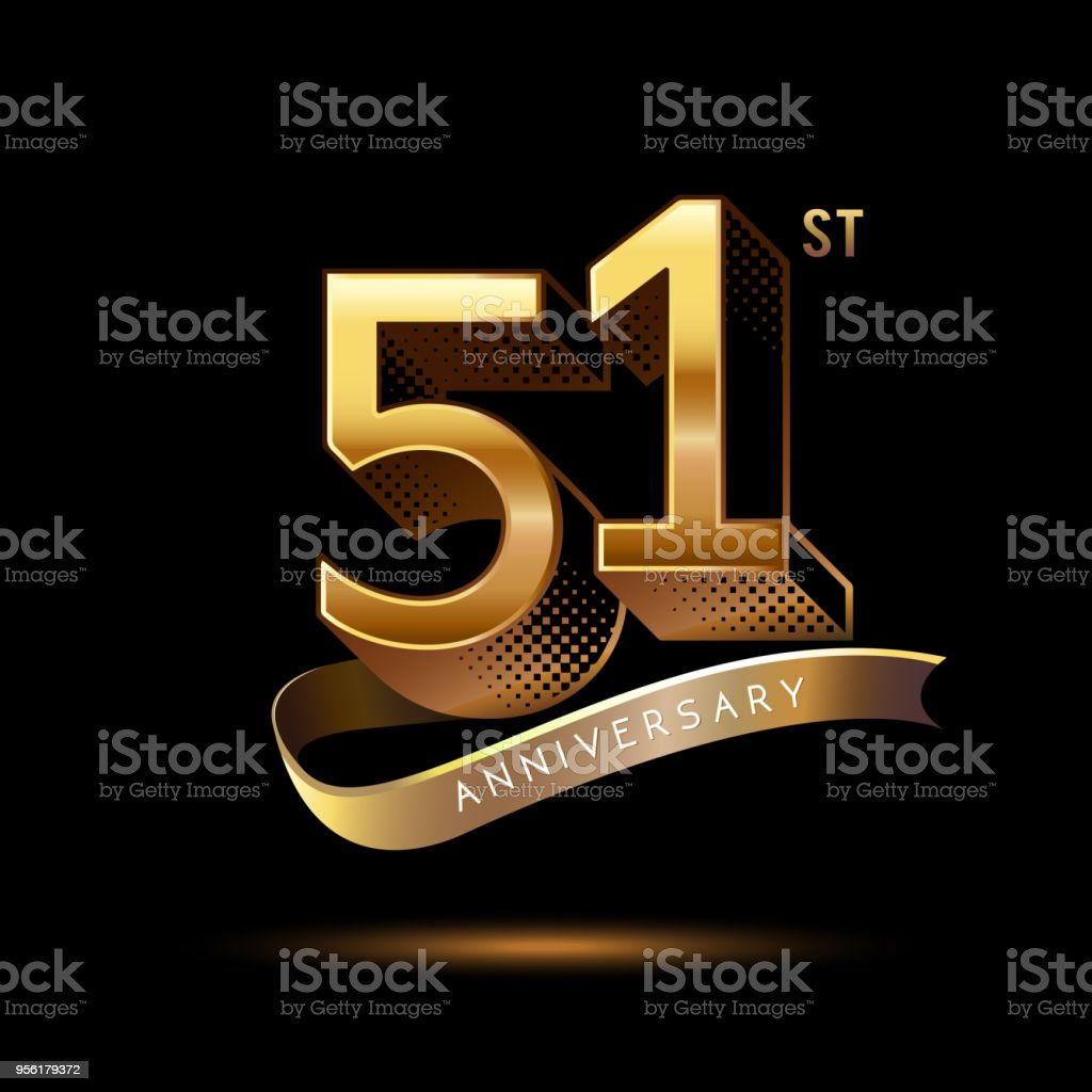 51st Anniversary celebration logotype colored with shiny gold, using ribbon and isolated on black background vector art illustration