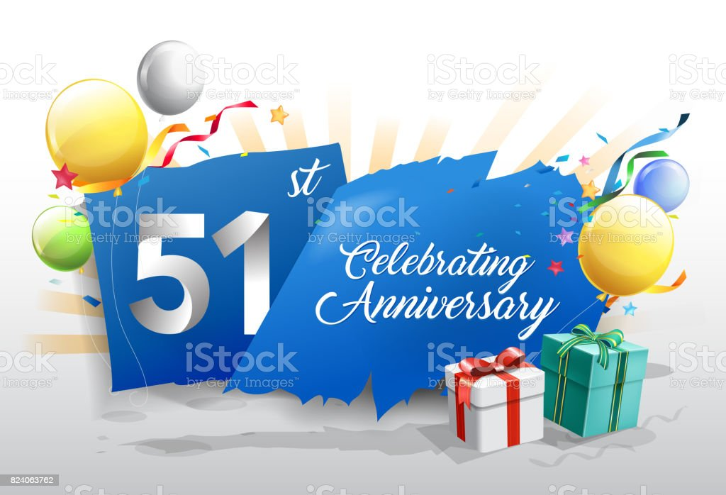 51st anniversary celebration with colorful confetti and balloon on blue background with shiny elements. design template for your birthday party. vector art illustration