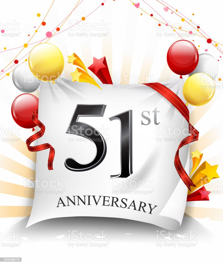 51st anniversary celebration with colorful confetti and balloon on cloth background with shiny elements vector art illustration