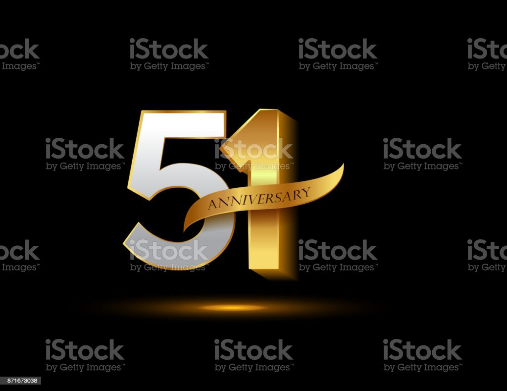 51st anniversary glowing logotype with ribbon golden colored isolated on dark background, vector design for greeting card and invitation card. vector art illustration