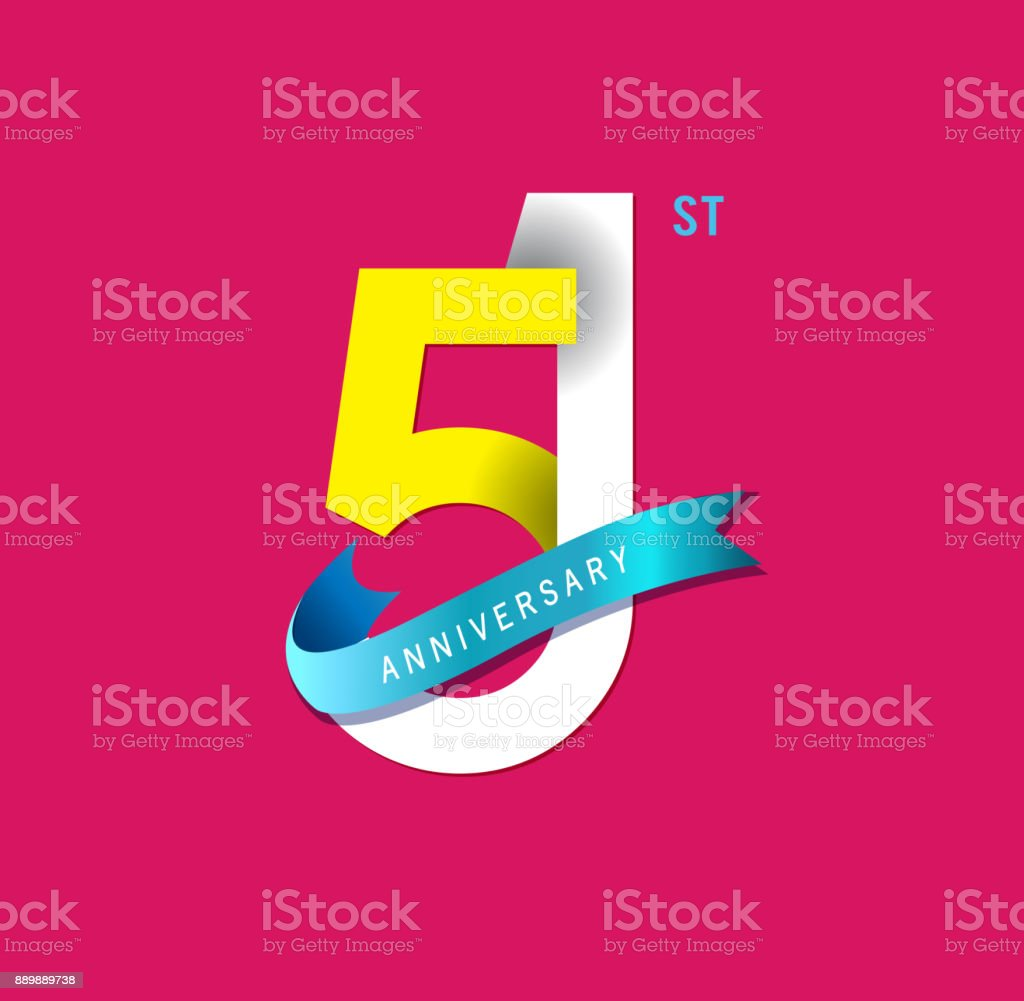 51st Anniversary simple emblems, template design for web, game ,Creative poster, booklet, leaflet, flyer, magazine, invitation card vector art illustration