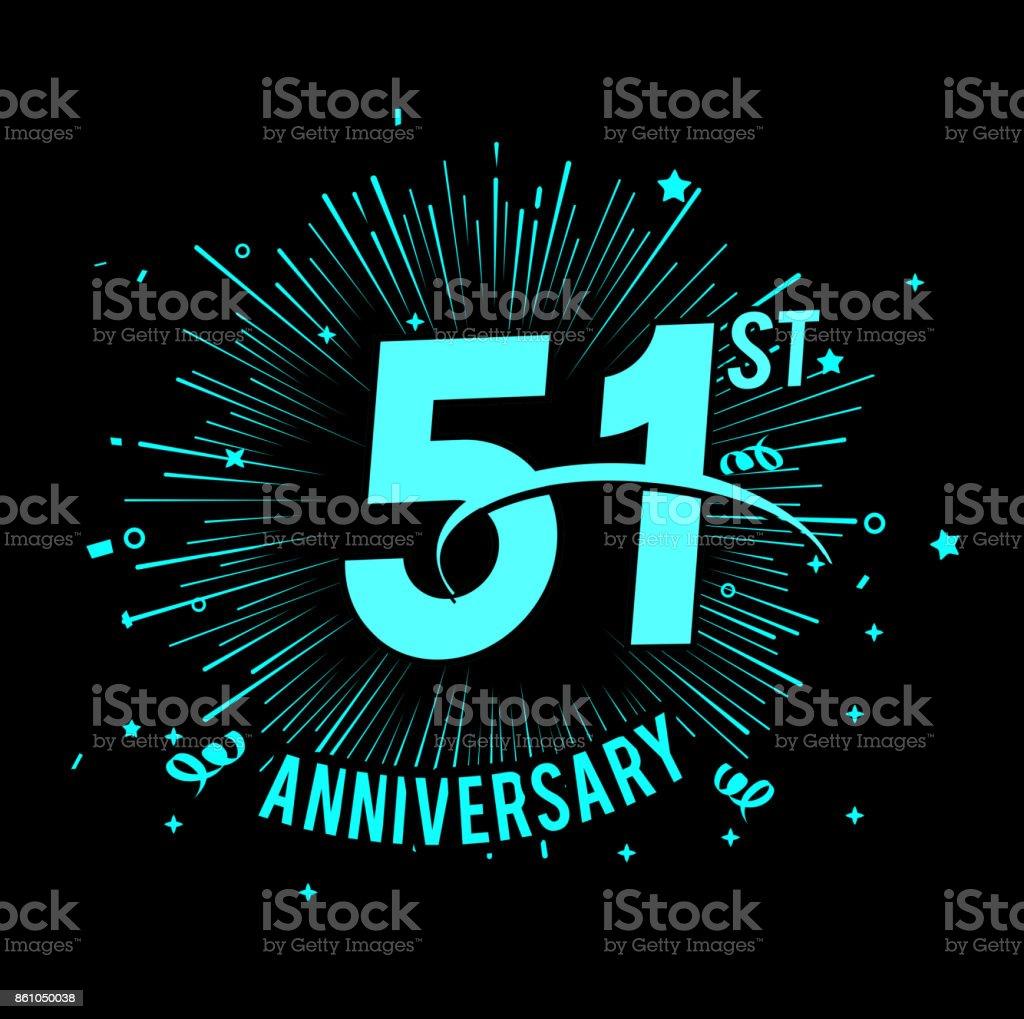 51st anniversary  with firework background. glow in the dark design concept vector art illustration