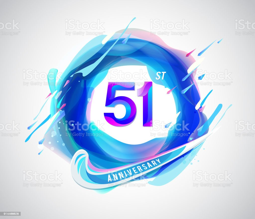 51st colorful anniversary symbol. abstract liquid color elements celebration background design vector art illustration