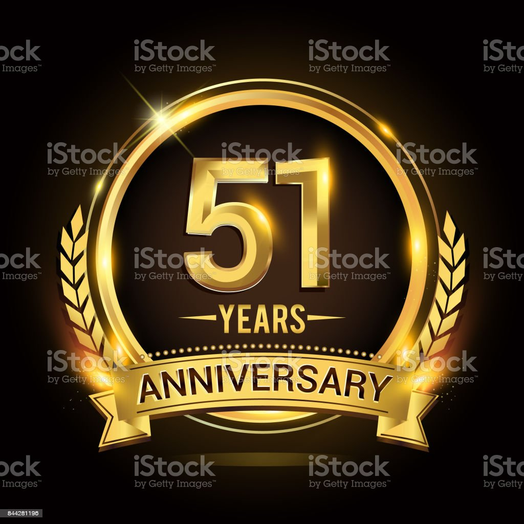 51st golden anniversary icon, with shiny ring and gold ribbon, laurel wreath isolated on black background, vector design vector art illustration