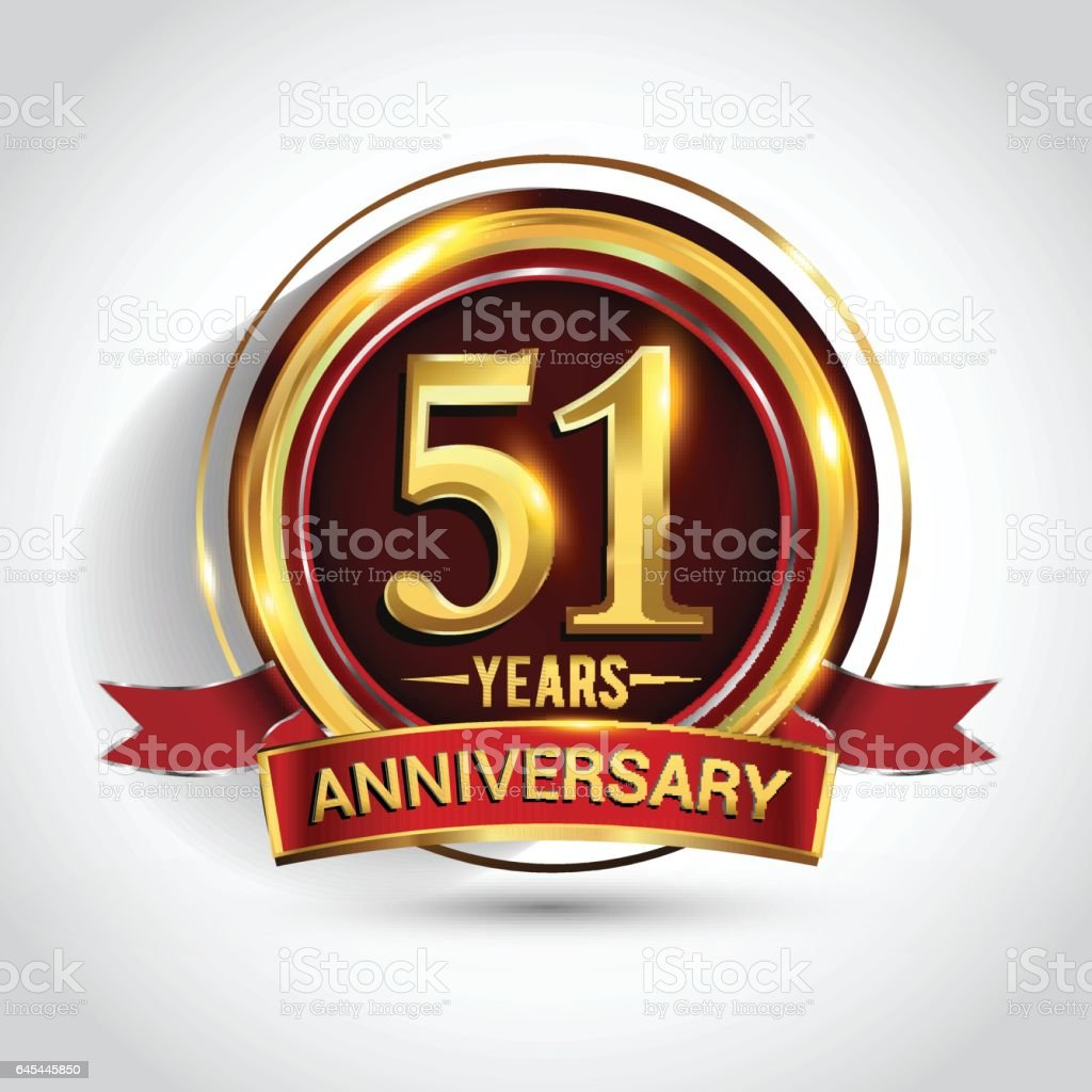 51st golden anniversary logo with ring and red ribbon isolated on white background vector art illustration