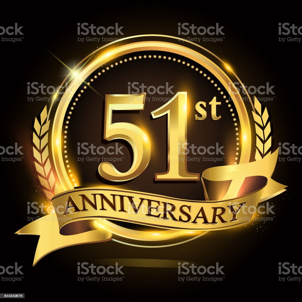 51st golden anniversary logo with ring and ribbon, laurel wreath vector design. vector art illustration