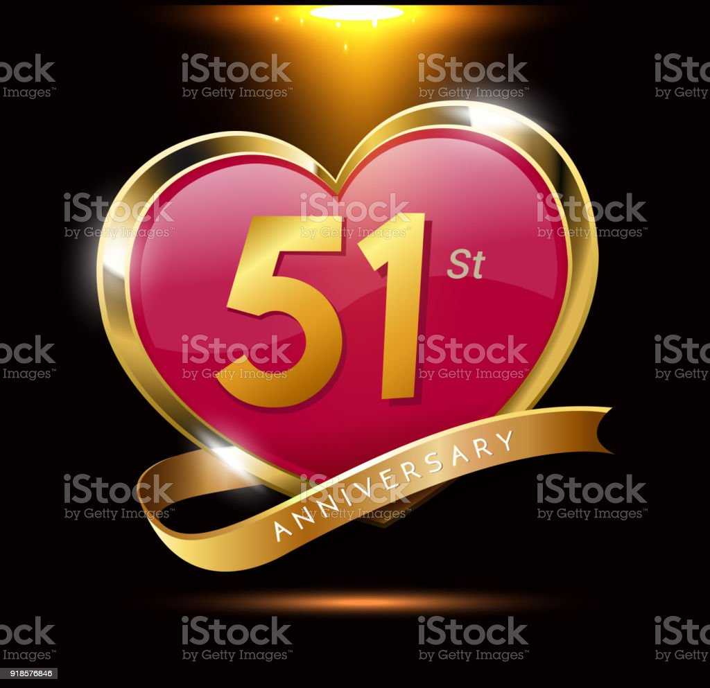 51st love anniversary with shiny gold on black background. heart shape with ribbon vector art illustration