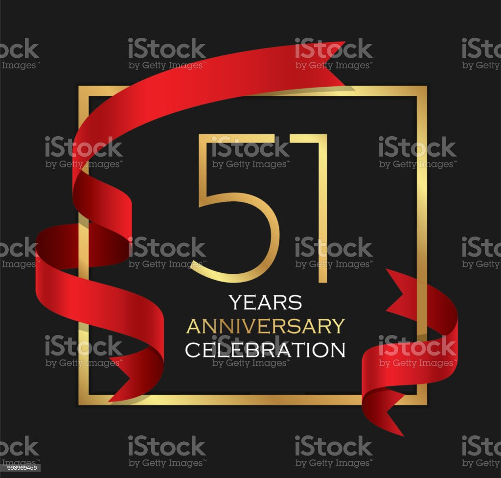 51st years anniversary celebration background vector art illustration