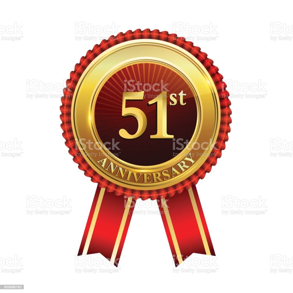 51st years anniversary golden badge with red ribbons isolated on white background, vector design for greeting card, banner and invitation card. vector art illustration