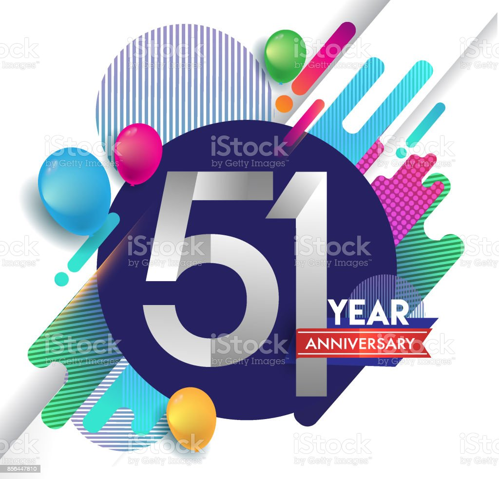 51st years Anniversary icon with colorful abstract background, vector design template elements for invitation card and poster your birthday celebration. vector art illustration