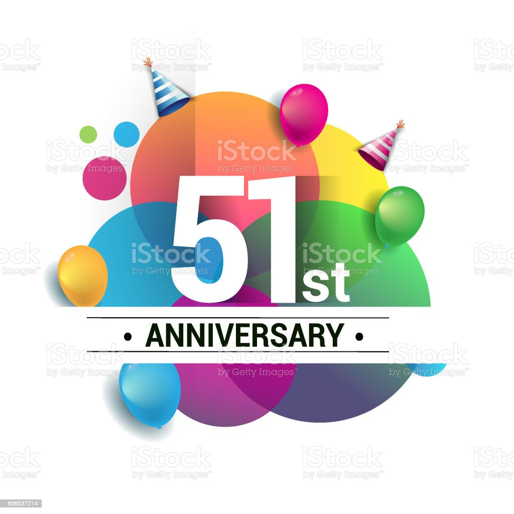 51st years anniversary logo, vector design birthday celebration with colorful geometric, Circles and balloons isolated on white background. vector art illustration