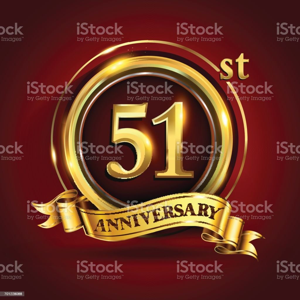 51st years anniversary logo with gold ring and golden ribbon, vector design vector art illustration