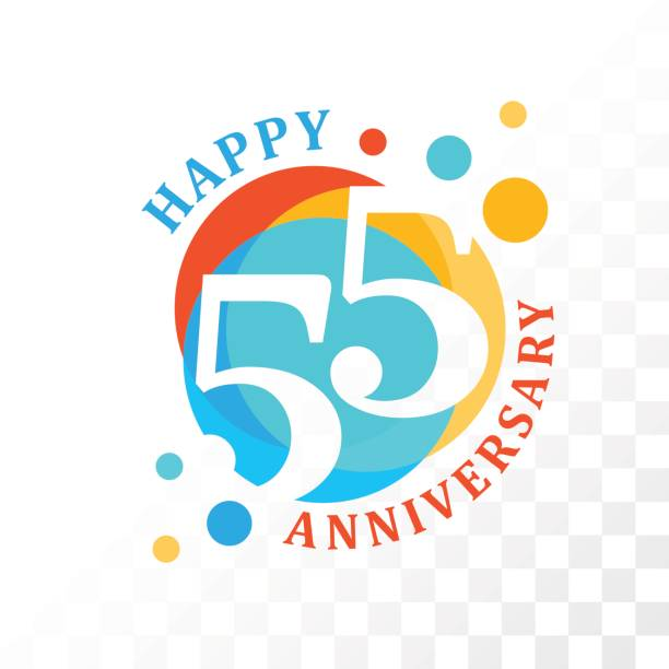 bildbanksillustrationer, clip art samt tecknat material och ikoner med 55: e anniversary emblem. - 55 59 år
