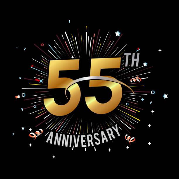 bildbanksillustrationer, clip art samt tecknat material och ikoner med 55: e årsdagen fyrverkerier och firandet bakgrund - lager vektor - 55 59 år