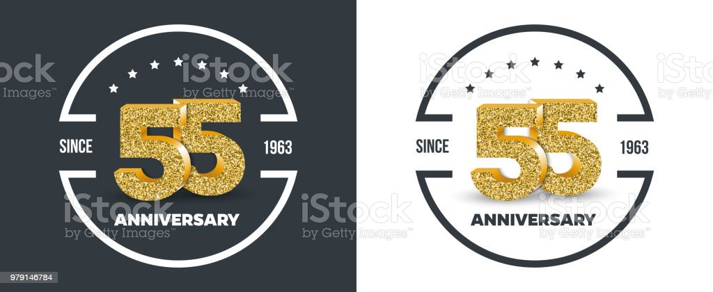 Genoeg 55ste Verjaardag Goud Gekleurd Logo Op Donkere En Witte #KP69