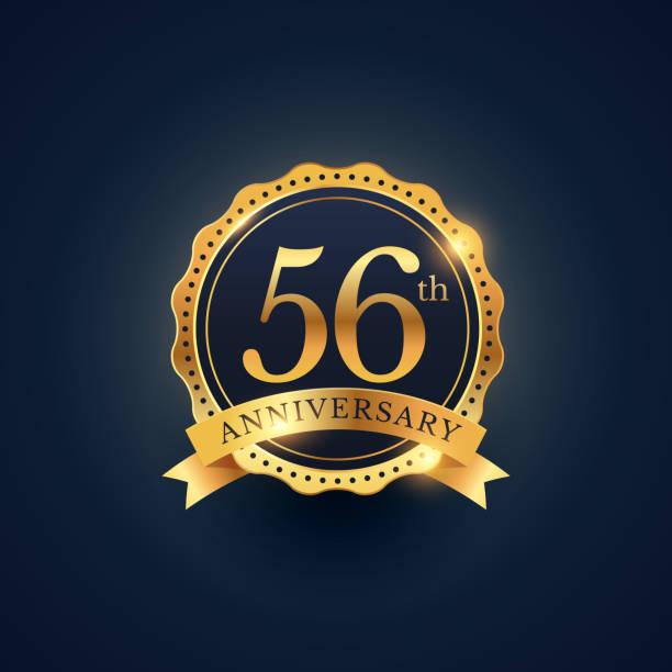 bildbanksillustrationer, clip art samt tecknat material och ikoner med 56th anniversary celebration badge label in golden color - 55 59 år