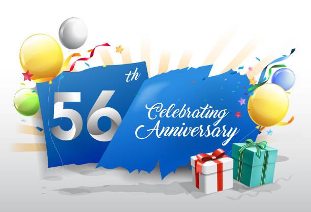 bildbanksillustrationer, clip art samt tecknat material och ikoner med 56: e årsjubileum med färgglada konfetti och ballongen på blå bakgrund med blanka inslag. formgivningsmall för din födelsedagsfest. - 55 59 år