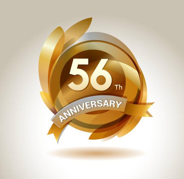 bildbanksillustrationer, clip art samt tecknat material och ikoner med 56th anniversary ribbon logo with golden circle and graphic elements - 55 59 år