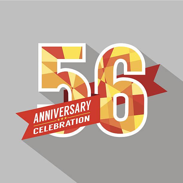bildbanksillustrationer, clip art samt tecknat material och ikoner med 56th years anniversary celebration design - 55 59 år