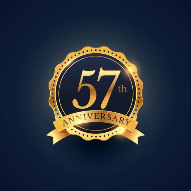 bildbanksillustrationer, clip art samt tecknat material och ikoner med 57th anniversary celebration badge label in golden color - 55 59 år