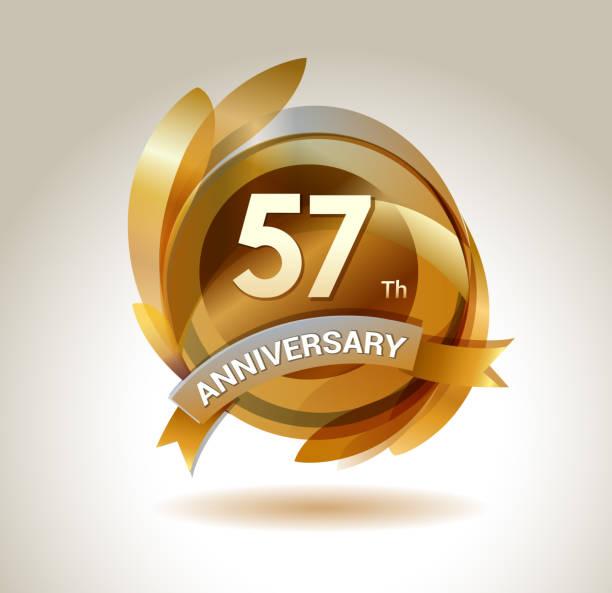 bildbanksillustrationer, clip art samt tecknat material och ikoner med 57th anniversary ribbon logo with golden circle and graphic elements - 55 59 år
