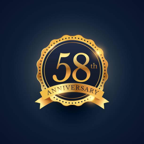 bildbanksillustrationer, clip art samt tecknat material och ikoner med 58th anniversary celebration badge label in golden color - 55 59 år