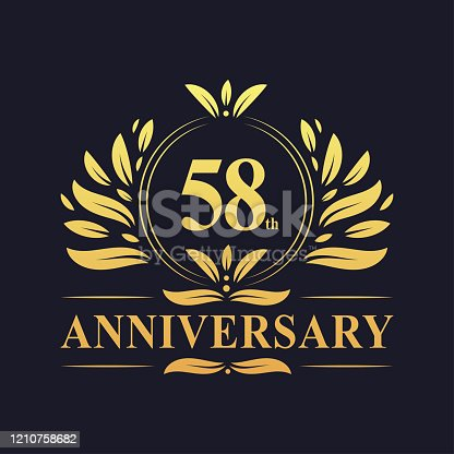 58th Anniversary Design, luxurious golden color 58 years Anniversary logo design celebration.