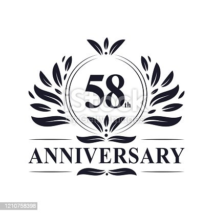 58th Anniversary celebration, luxurious 58 years Anniversary logo design.