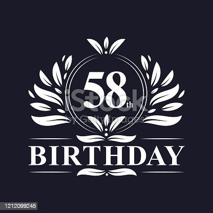 58 years Birthday logo, luxury 58th Birthday design celebration.