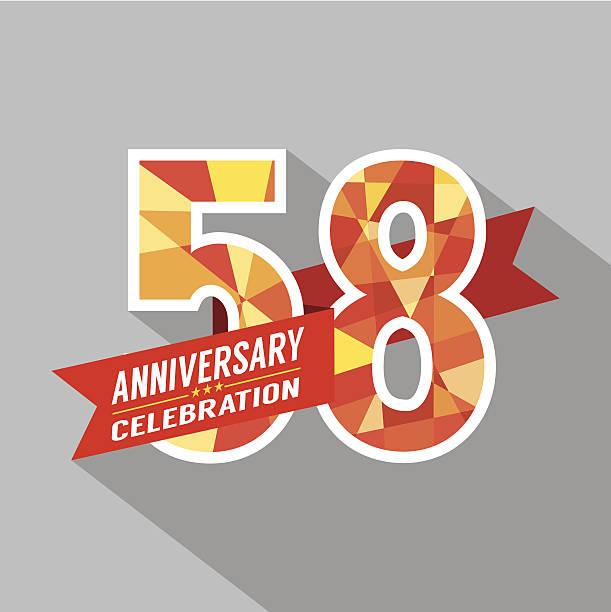 bildbanksillustrationer, clip art samt tecknat material och ikoner med 58th years anniversary celebration design - 55 59 år
