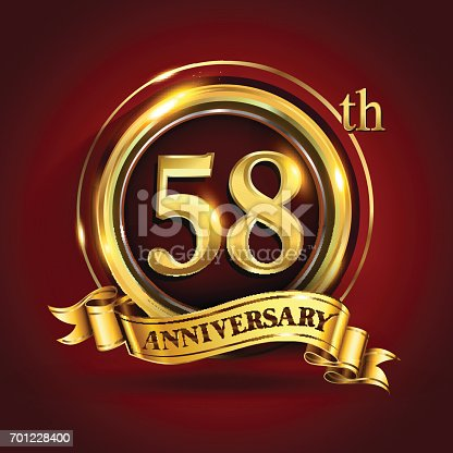 Celebrating 58th golden anniversary, fifty eight years birthday logo celebration with gold ring and golden ribbon.