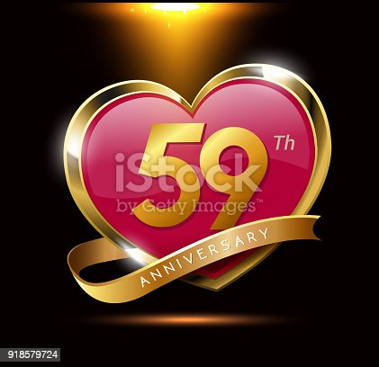 59th Love Anniversary With Shiny Gold On Black Background Heart