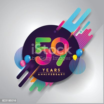59th Years Anniversary Symbol With Colorful Abstract Background