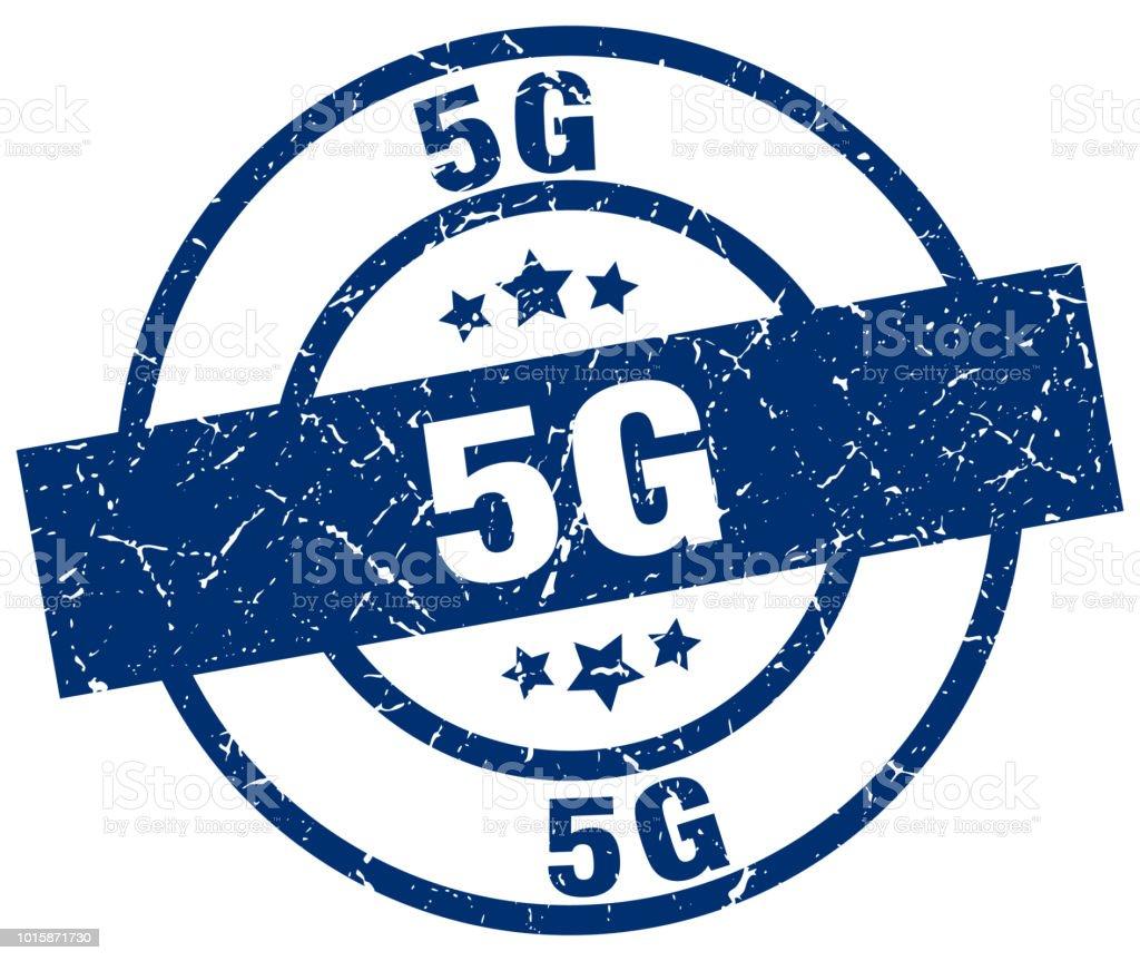 5g blue round grunge stamp vector art illustration