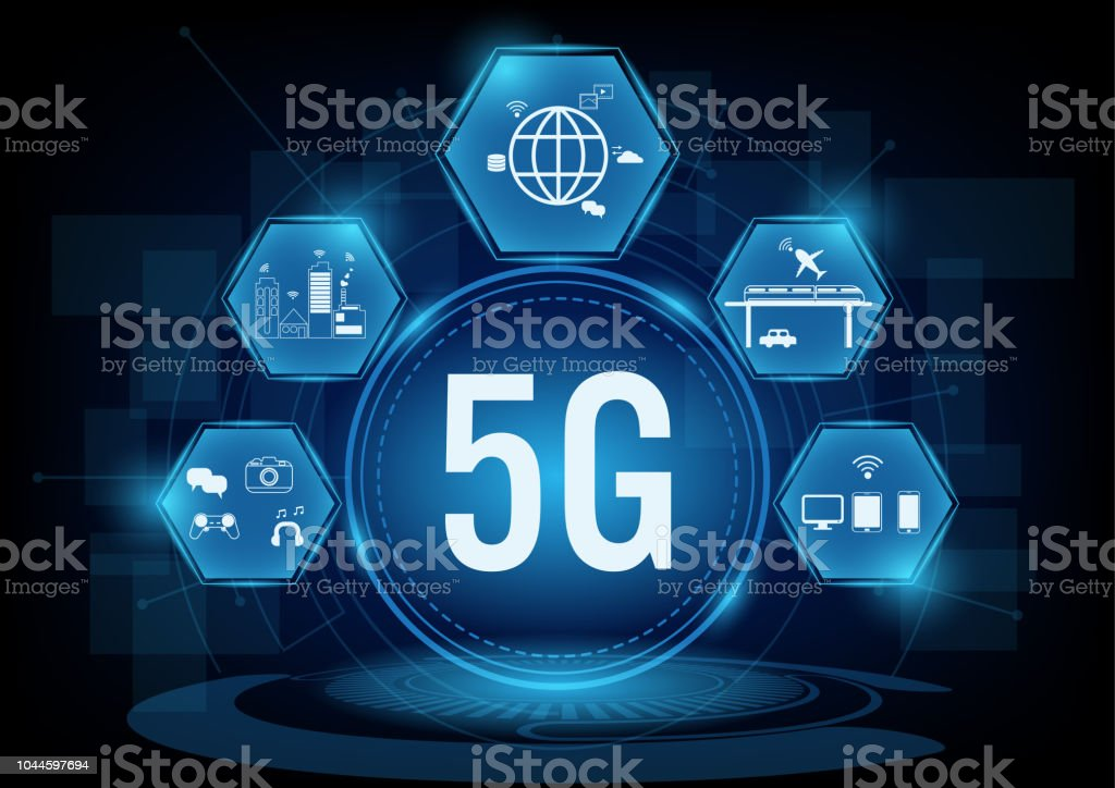 5g communication network systems with line icon.Vector illustration vector art illustration