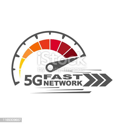 5g fast network. Speed internet 5g concept. Abstract symbol of speed 5g network. Speedometer logo design. Vector icon. EPS 10