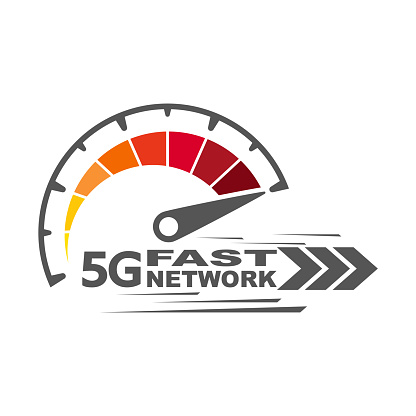 5g fast network. Speed internet 5g concept. Abstract symbol of speed 5g network. Speedometer logo design. Vector icon. EPS 10.
