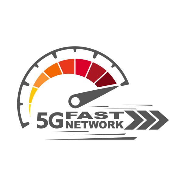 5g fast network. Speed internet 5g concept. Abstract symbol of speed 5g network. Speedometer logo design. Vector icon. EPS 10. vector art illustration