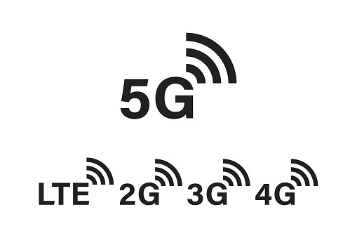 5g internet technology. Network signs. Sign of settings. Symbol of connecting. 5G 4G 3G 2G LTE mobile communication.