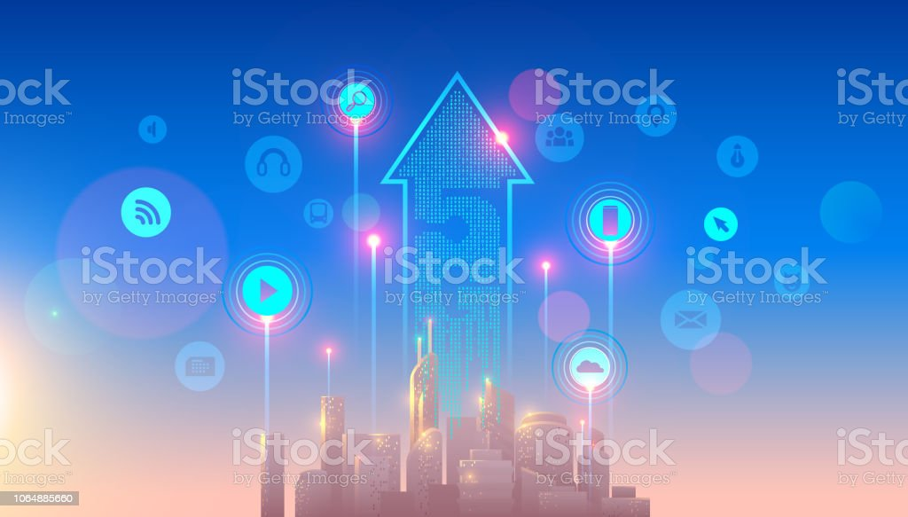 5g lte network logo over the smart city. connection via high speed, broadband telecommunication wireless internet. Skyscrapers in sunrise. vector art illustration