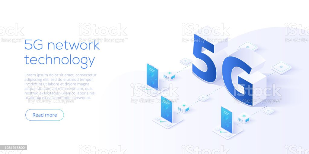 5g network technology in isometric vector illustration. Wireless mobile telecommunication service concept. Marketing website landing template. Smartphone internet speed connection background. vector art illustration