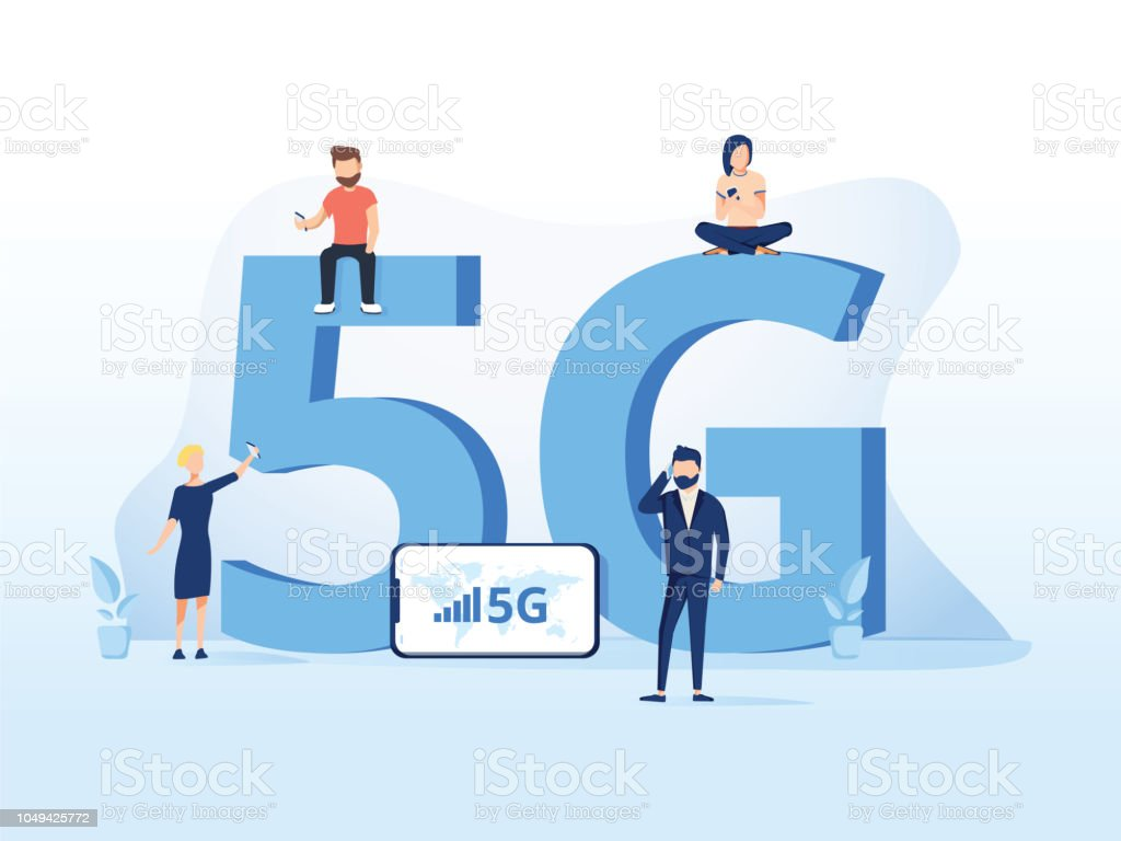5g network technology vector illustration. Wireless mobile telecommunication service concept. Concept for marketing site vector art illustration